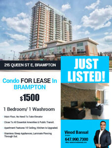 Condo for lease in Brampton $1500