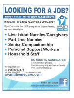 Live in/out, part time nannies/ caregivers needed!