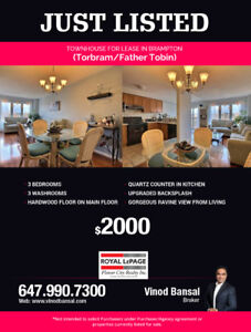 Just Listed Townhouse For Lease Brampton (Torbram/Father Tobin)