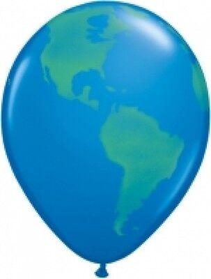 5 Luftballons Globus Weltkugel, Qualatex, ca. 30 cm