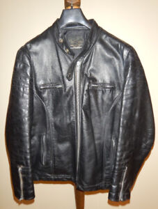 Classic Black Leather Men's Motorcycle Jacket
