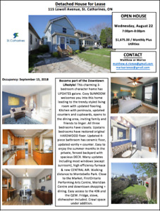 Detached House for Lease- Available September 15, 2018
