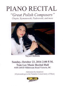 Piano Recital: Great Polish Composers, Sunday Oct. 23, 2pm