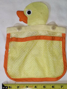 Rubber Ducky Mesh Toy Bag with Suction Cups to hang in Bathtub