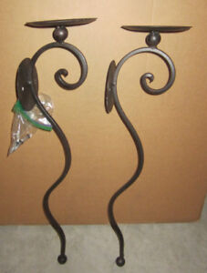 "2  Pillar Candle Metal Wall Sconces 21"" high"