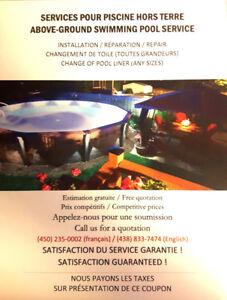 Installation, Réparation, Entretien piscine hors terre