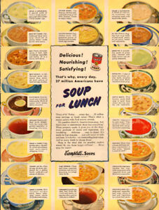 1950 large (10 ¼ x 14) full-page print ad for Campbell's soup
