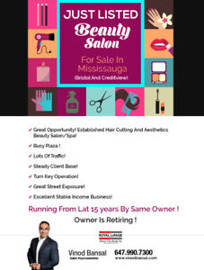 BEAUTY SALON FOR SALE IN MISSISSAUGA