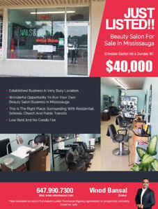 Just Listed!!Beauty Salon for Sale in Mississauga