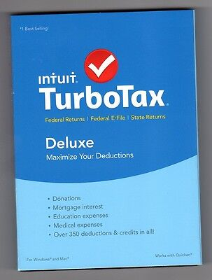 2015 Tax Year Intuit TurboTax Deluxe Federal & State Windows & Mac NEW Sealed