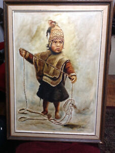 SIGNED OIL ON CANVAS NATIVE  BOY CHILD OF THE ANDES