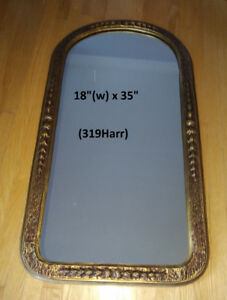 Mirror - Wall Mounted, Vintage Frame Reproduction, Round Top