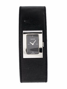 Gucci watch quartz black leather bracelet