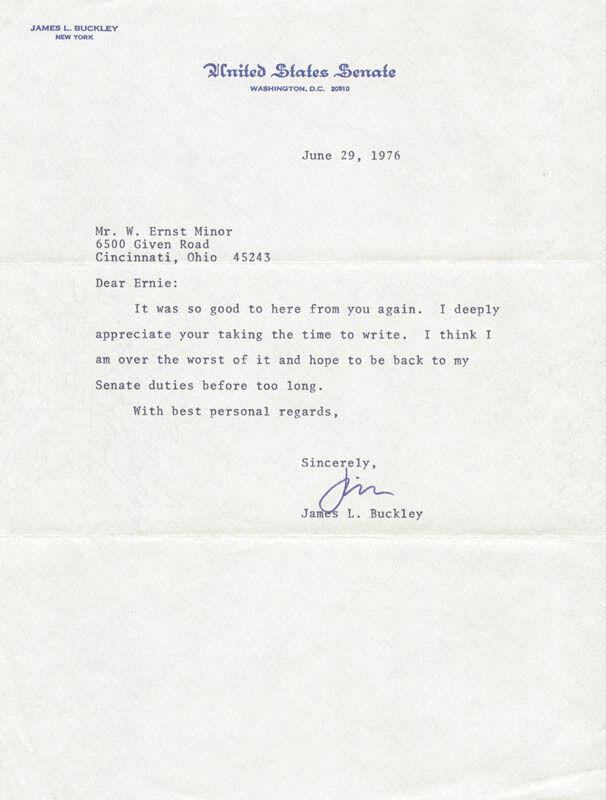 JAMES L. BUCKLEY - TYPED LETTER SIGNED 06/29/1976