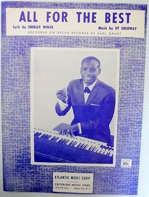 (EARL GRANT Sheet Music All For The Best MINT Criterion Publ. JAZZ POP VOCAL)