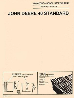 John Deere Model 40 Standard Tractor Parts Manual Catalog Jd Pc-311