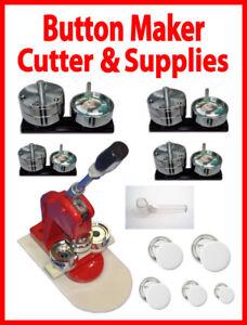 "New 5in1 Button Maker Presses,1"" upto 3""+Button Cutter& Blank PK"