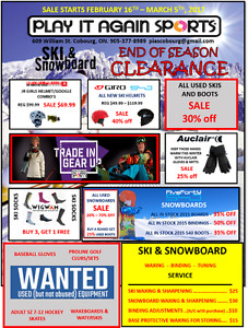 PLAY IT AGAIN SPORTS COBOURG - END OF SEASON WINTER CLEARANCE