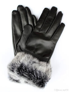 Women Winter Real Sheep Leather Gloves Lambskin Rabbit Fur Warm Regina Regina Area image 3