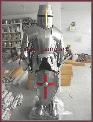 MEDIEVAL KNIGHT CRUSADER FULL SUIT OF ARMOR COLLECTIBLE ARMOR COSTUME WITH SHIED