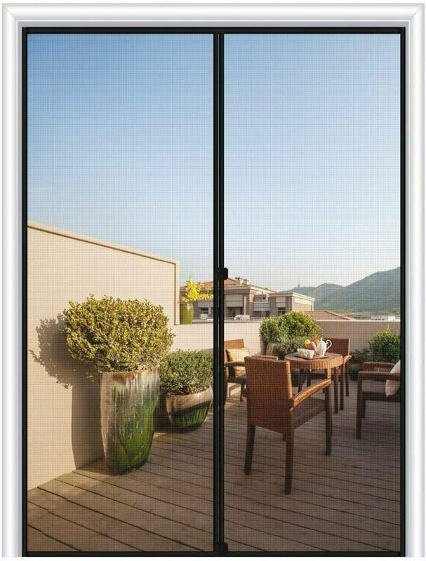 MAGZO Magnetic Screen Door 48 x 80, Reinforced Fiberglass Me