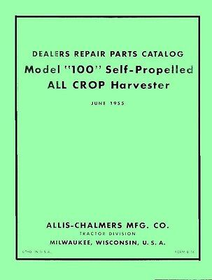 Allis Chalmers 100 All Crop Harvester Parts Manual Ac