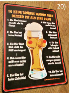 "German ""10 Reasons Why Beer is Better Than Women"" Metal Sign"