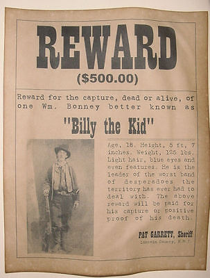 Billy The Kid Wanted Poster  Western  Outlaw  Old West