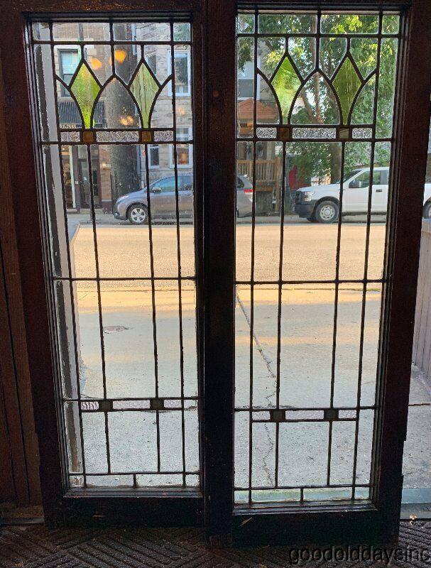 2 of 4  Antique Leaded Glass Doors / Windows Circa 1920