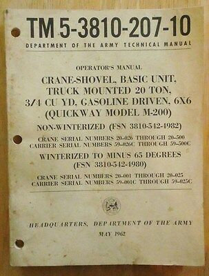 Tm 5-3810-207-10 Army Technical Manual Crane Shovel Quickway Model M-200 20 Ton