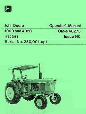 John Deere Model 4000 And 4020 Tractor Operators Manual Sn 250001-up Jd