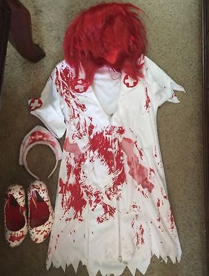 Used Sexy Zombie Bloody Nurse Dress Costume Halloween w/Matching Heels & Red Wig](Twin Costumes Halloween)