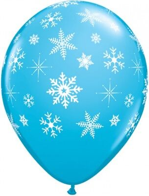 5 Luftballons Schneeflocken Snowflake BLAU, Qualatex, ca. 30 cm
