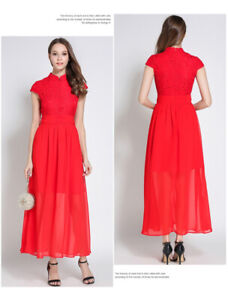 Contemporary cheongsam with red lace and chiffon for sale