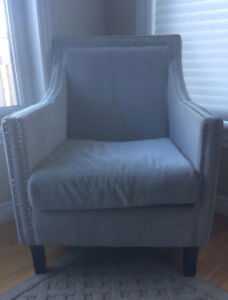 Armchair with Silver Nail Head Upholstered Arms