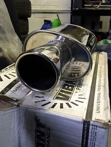 """Two Vibrant Streetpower Mufflers w/ 4"""" tip (2.5 inlet) (NEW)"""