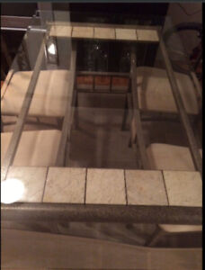 Glass Top Dining Table Includes 4 Chairs, Same As Brand New