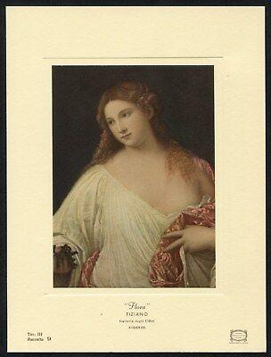 Uffizi Gallery - Tiziano Vecelli Titian FLORA 1969 vintage Uffizi Gallery renaissance art card