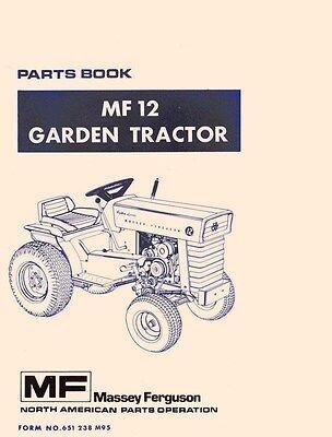 Massey Ferguson Mf-12 Mf12 Garden Tractor Repair Parts List Book Manual
