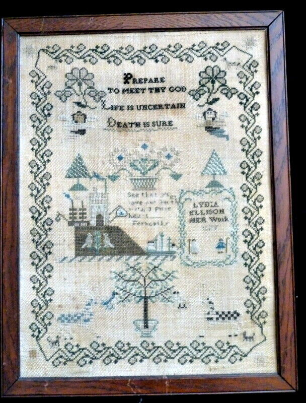 *PENNY MARSHALL Estate 1827 Signed DEATH IS CERTAIN American Embroidered SAMPLER