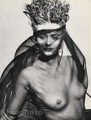 1984 Vintage 11x14 FEMALE NUDE Consuelo Fashion Model Photo Gravure ~ HERB RITTS