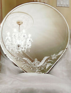 Vintage Pear Shaped Art Deco Tear Drop Etched Cut Wall Mirror