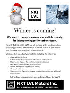 Winter is coming! Check up & Inspection! $79.99 w/ tax included!