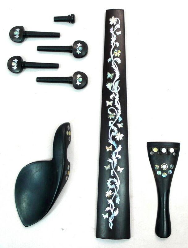 Solid ebony 4/4 Viola fingerboard, tailpiece,chinrest, peg,end pin,1 set,VIA03