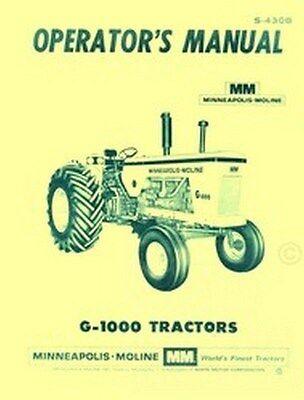 Minneapolis Moline G1000 G-1000 Operators Owners Manual
