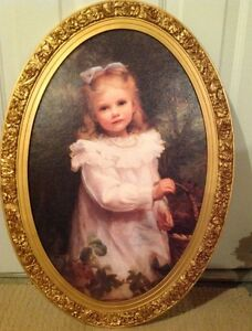 Picture, young girl in decorative oval frame