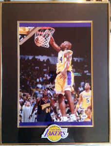 Shaquille O'Neal signed 21x16 framed photo Lakers display,PSA