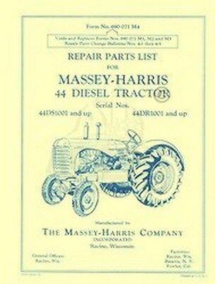 Massey Harris 44 Diesel Repair Parts Manual 1001 Up