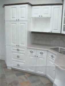 Designer Kitchen Cabinets - White w/Nickel Knobs & Hardware