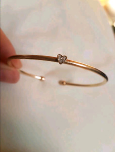 14K Gold plated diamond heart bangle